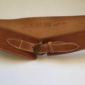 ECHO Tan Leather Wide Belt